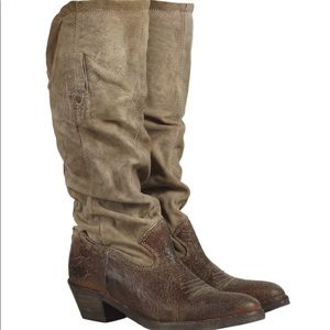 AllSaints Women's Brown Allouette Cowboy Boot